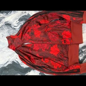 adidas red and black floral track jacket